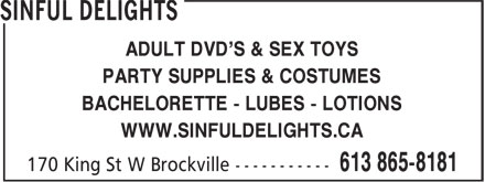 Sinful Delights (613-865-8181) - Annonce illustrée - PARTY SUPPLIES & COSTUMES BACHELORETTE - LUBES - LOTIONS WWW.SINFULDELIGHTS.CA ADULT DVD'S & SEX TOYS