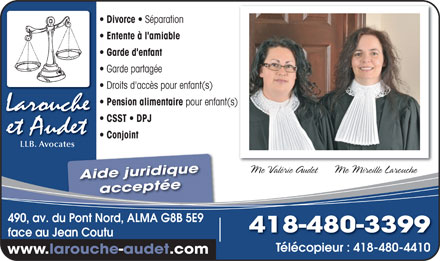 larouche et audet avocates 418 480 3399 annonce illustr e divorce s paration entente l. Black Bedroom Furniture Sets. Home Design Ideas