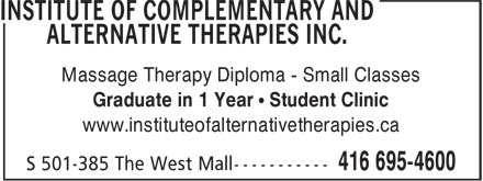 Institute Of Complementary And Alternative Therapies (416-695-4600) - Display Ad - Massage Therapy Diploma - Small Classes Graduate in 1 Year • Student Clinic www.instituteofalternativetherapies.ca