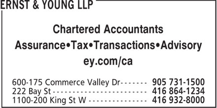 Ernst & Young LLP (416-864-1234) - Annonce illustrée - Chartered Accountants Assurance•Tax•Transactions•Advisory ey.com/ca