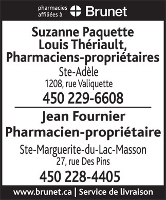 Pharmacie Affiliée A Brunet (450-229-6608) - Display Ad