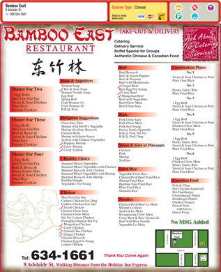 Bamboo East Rest (506-634-1661) - Menu
