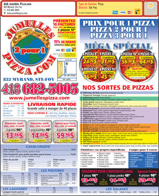 Jumelles Pizza (418-682-5005) - Display Ad