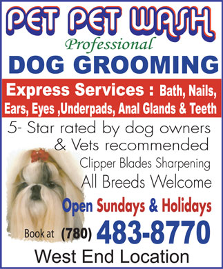 Pet Pet Wash Professional Dog Grooming Ltd (780-483-8770) - Annonce illustrée