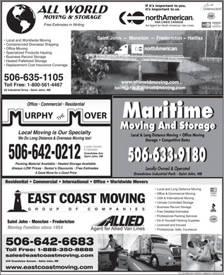 All World Moving & Storage/North American Van Lines Canada Agent (506-635-1105) - Display Ad
