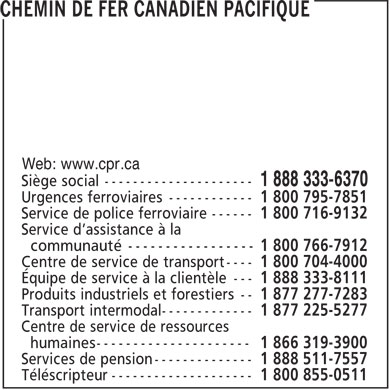 Chemin De Fer Canadien Pacifique (1-888-333-6370) - Display Ad - Web: www.cpr.ca