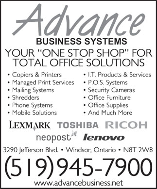 Advance Business Systems (Windsor) Inc (519-945-7900) - Annonce illustrée