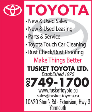 Tusket Toyota (902-749-1700) - Display Ad - Established 1970