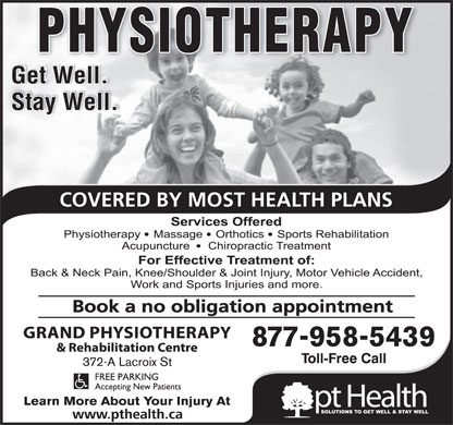 Grand Physiotherapy & Rehabilitation Centre/ptHealth (519-354-5217) - Annonce illustrée
