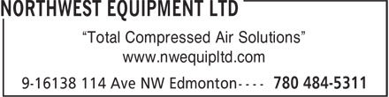 "Northwest Equipment Ltd (780-484-5311) - Annonce illustrée - ""Total Compressed Air Solutions"" www.nwequipltd.com ""Total Compressed Air Solutions"" www.nwequipltd.com"