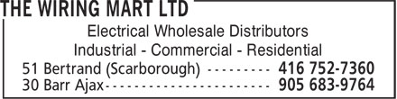 The Wiring Mart Ltd (416-752-7360) - Display Ad - Electrical Wholesale Distributors Industrial - Commercial - Residential