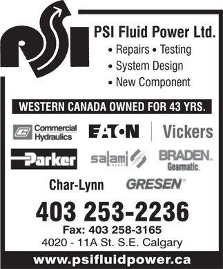 P S I Fluid Power Ltd (403-253-2236) - Display Ad