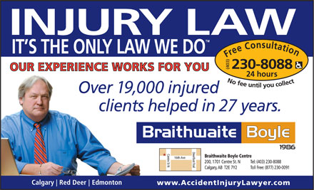 Braithwaite Boyle Accident Injury Law (403-766-9027) - Display Ad