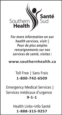 Southern Health-Santé Sud (1-800-742-6509) - Display Ad