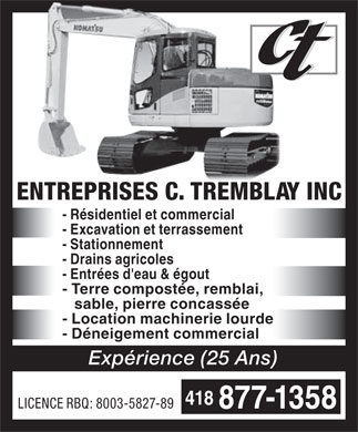 Entreprises C Tremblay Inc (Les) (418-877-1358) - Display Ad