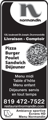 Restaurant Normandin (819-472-7522) - Display Ad
