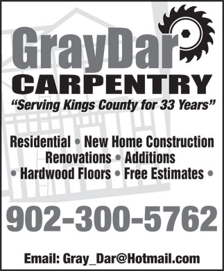 GrayDar Carpentry (902-680-5643) - Annonce illustrée - Residential   New Home Construction Renovations   Additions Hardwood Floors   Free Estimates 902-300-5762 Residential   New Home Construction Renovations   Additions Hardwood Floors   Free Estimates 902-300-5762