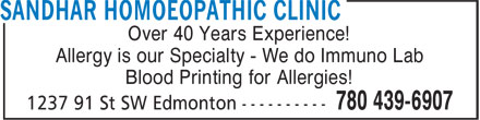 Sandhar Homoeopathic Clinic (780-613-0294) - Annonce illustrée - Over 40 Years Experience! Allergy is our Specialty - We do Immuno Lab Blood Printing for Allergies!