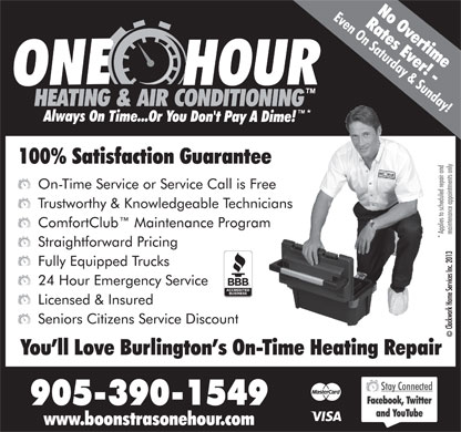 Boonstra's One Hour Heating & Air Conditioning (905-390-1549) - Annonce illustrée