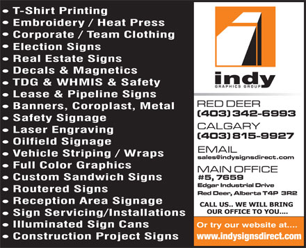 Indy Graphics Group (403-406-0763) - Annonce illustrée - www.indysignsdirect.com