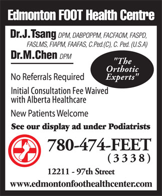 "Edmonton Foot Health Centre (587-409-8290) - Display Ad - ""The Orthotic Experts"""
