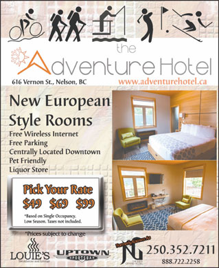 Adventure Hotel (250-352-7211) - Display Ad