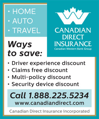 Canadian Direct Insurance (1-888-225-5234) - Annonce illustrée