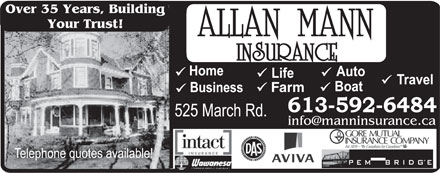 Allan Mann Insurance (613-604-0840) - Display Ad - Your Trust! Farm Over 35 Years, Building