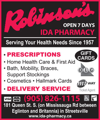 Robinsons IDA Pharmacy (905-826-1115) - Display Ad - GIFT CARDS