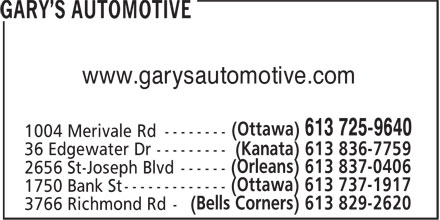 Gary's Automotive (613-725-9640) - Display Ad - www.garysautomotive.com