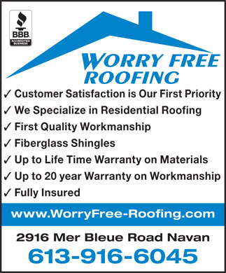 Worry Free Roofing 613 916 6209 Display Ad Orry Free