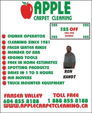 Apple Carpet Cleaning BC Ltd (604-855-8188) - Display Ad