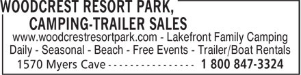 Woodcrest Resort Park, Camping-Trailer Sales (1-800-847-3324) - Annonce illustrée - www.woodcrestresortpark.com - Lakefront Family Camping Daily - Seasonal - Beach - Free Events - Trailer/Boat Rentals