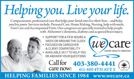 We Care Home Health Services (403-380-4441) - Annonce illustrée